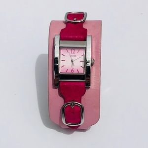 VINTAGE Guess TwoTone Pink Leather Wide Cuff Watch